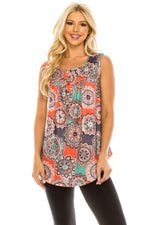 Haute Edition WOMEN'S TOP MEDALLON-2 / S Haute Edition Henley Button Up Printed Flowy Tank Tops with Plus Sizes