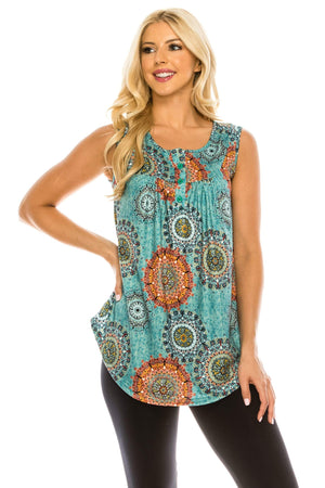 Haute Edition WOMEN'S TOP MEDALLON-3 / S Haute Edition Henley Button Up Printed Flowy Tank Tops with Plus Sizes