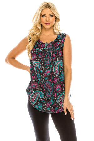 Haute Edition WOMEN'S TOP PURPLE PAISLEY / S Haute Edition Henley Button Up Printed Flowy Tank Tops with Plus Sizes
