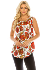 Haute Edition WOMEN'S TOP RED PAISLEY / S Haute Edition Henley Button Up Printed Flowy Tank Tops with Plus Sizes