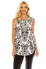 Haute Edition WOMEN'S TOP WHITE/BLACK PAISLEY / S Haute Edition Henley Button Up Printed Flowy Tank Tops with Plus Sizes