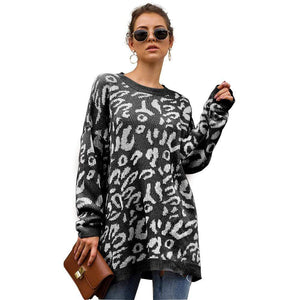 Haute Edition WOMEN'S TOP BLACK / S Haute Edition Leopard Print Tunic Length Crew Neck Pullover Thick Knit Sweater