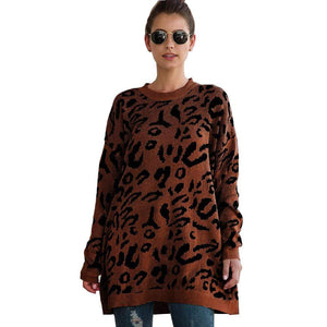 Haute Edition WOMEN'S TOP COFFEE / S Haute Edition Leopard Print Tunic Length Crew Neck Pullover Thick Knit Sweater