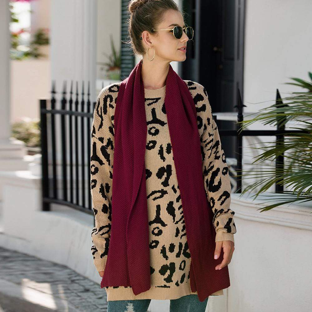 Haute Edition WOMEN'S TOP Haute Edition Leopard Print Tunic Length Crew Neck Pullover Thick Knit Sweater