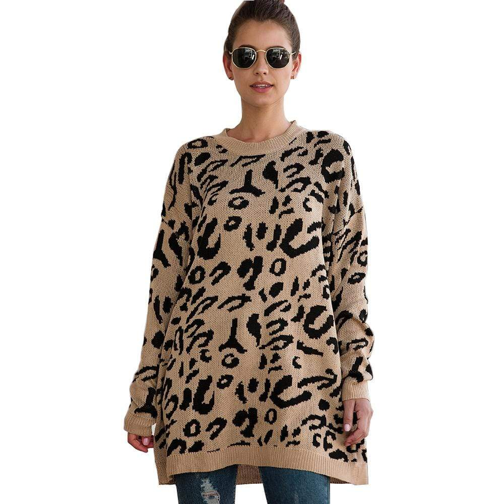 Haute Edition WOMEN'S TOP KHAKI / S Haute Edition Leopard Print Tunic Length Crew Neck Pullover Thick Knit Sweater