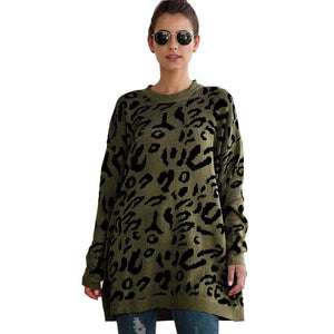 Haute Edition WOMEN'S TOP OLIVE / S Haute Edition Leopard Print Tunic Length Crew Neck Pullover Thick Knit Sweater