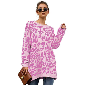 Haute Edition WOMEN'S TOP PINK / S Haute Edition Leopard Print Tunic Length Crew Neck Pullover Thick Knit Sweater