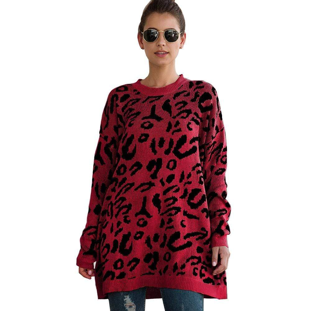 Haute Edition WOMEN'S TOP RED / S Haute Edition Leopard Print Tunic Length Crew Neck Pullover Thick Knit Sweater