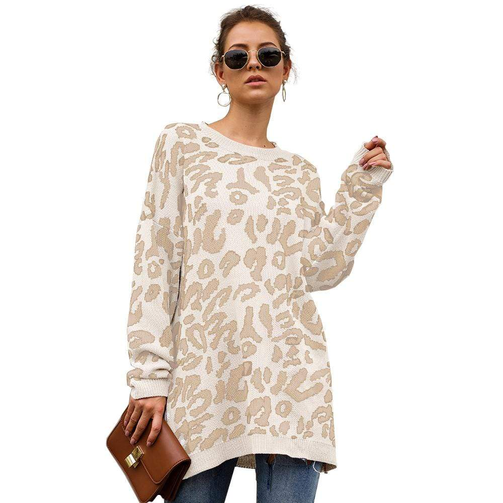 Haute Edition WOMEN'S TOP WHITE / S Haute Edition Leopard Print Tunic Length Crew Neck Pullover Thick Knit Sweater