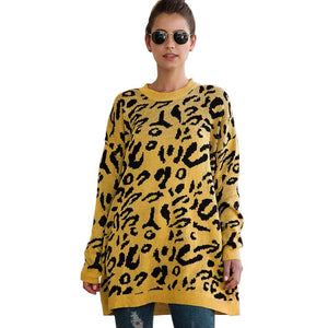 Haute Edition WOMEN'S TOP YELLOW / S Haute Edition Leopard Print Tunic Length Crew Neck Pullover Thick Knit Sweater