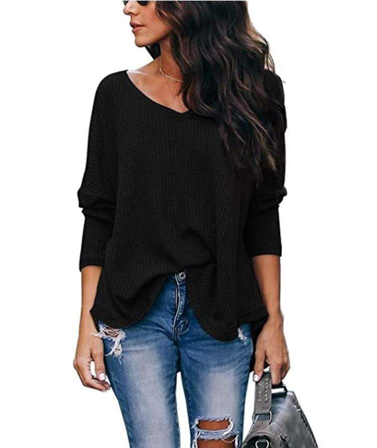 Haute Edition WOMEN'S TOP BLACK / S Haute Edition Slouchy Waffle Knit V-Neck Long Sleeve Tee