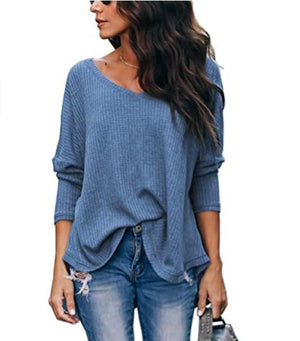 Haute Edition WOMEN'S TOP BLUE / S Haute Edition Slouchy Waffle Knit V-Neck Long Sleeve Tee
