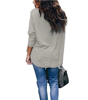 Haute Edition WOMEN'S TOP Haute Edition Slouchy Waffle Knit V-Neck Long Sleeve Tee