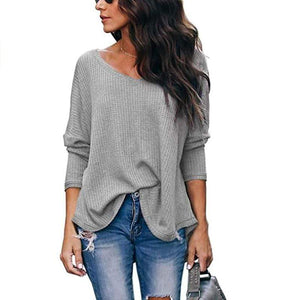 Haute Edition WOMEN'S TOP GREY / S Haute Edition Slouchy Waffle Knit V-Neck Long Sleeve Tee