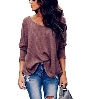 Haute Edition WOMEN'S TOP WINE / S Haute Edition Slouchy Waffle Knit V-Neck Long Sleeve Tee