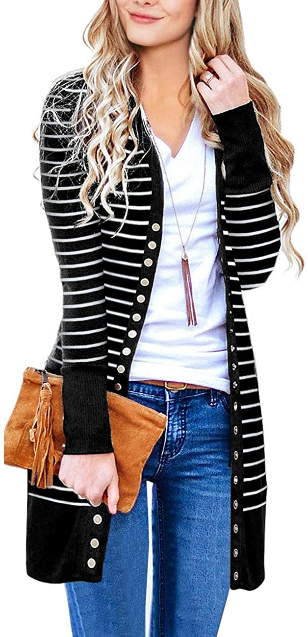 Haute Edition WOMEN'S TOP BLACK / S Haute Edition Striped Colorblock Snap Button Long Length Cardigan with Plus