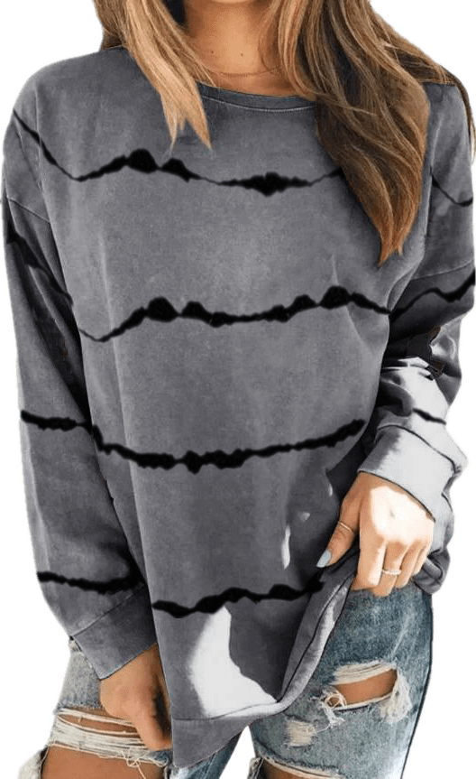 Haute Edition WOMEN'S TOP GREY / S Haute Edition Tie Dye Stripe Long Sleeve Tee