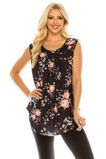 Haute Edition WOMEN'S TOP BLACK/PINK FLORAL / S Haute Edition Women's Casual Flare Tunic Tank Tops With Buttons and Ruching