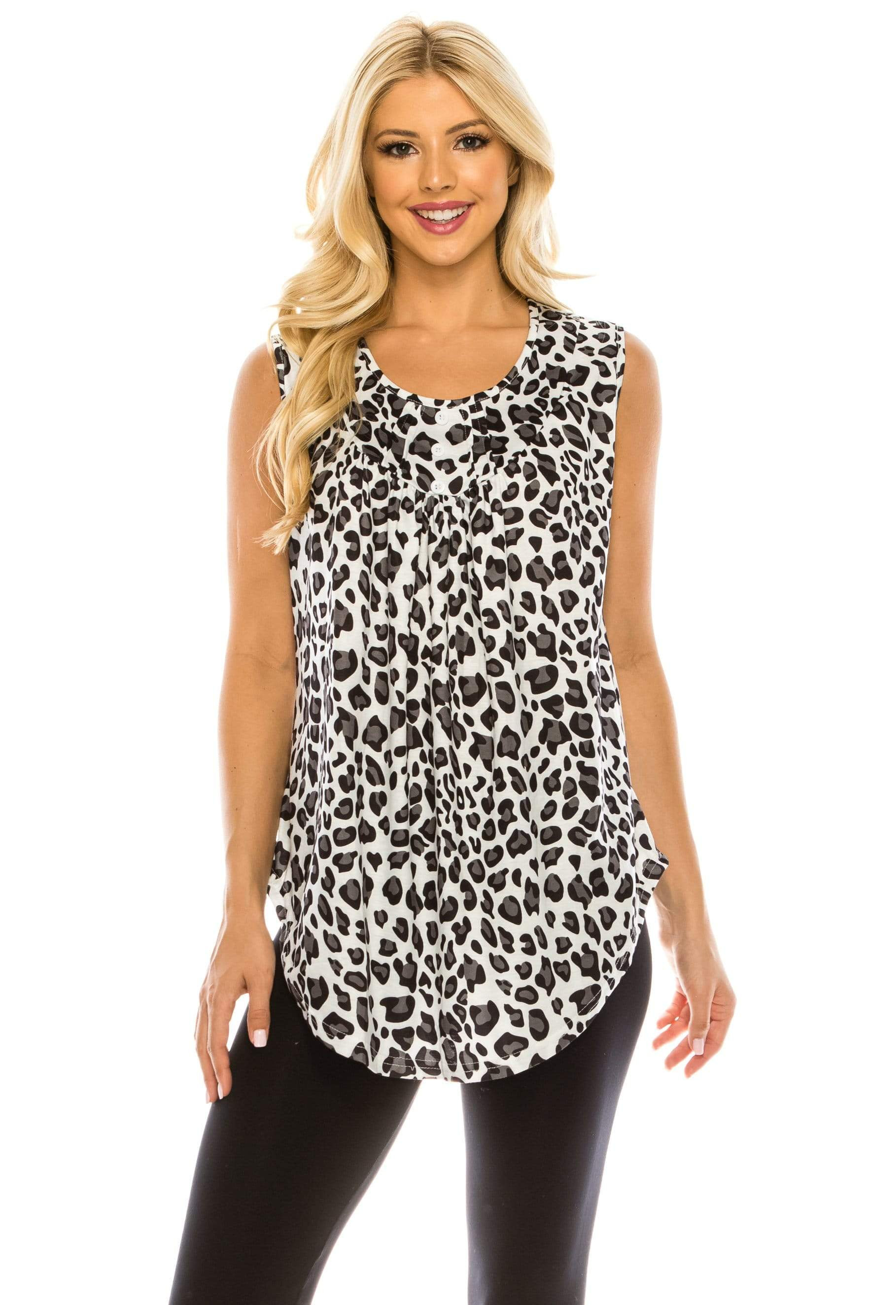 Haute Edition WOMEN'S TOP BLACK/WHITE LEOPARD / S Haute Edition Women's Casual Flare Tunic Tank Tops With Buttons and Ruching
