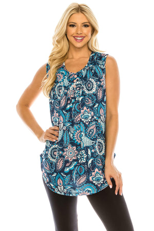 Haute Edition WOMEN'S TOP BLUE/PEACH PAISLEY / S Haute Edition Women's Casual Flare Tunic Tank Tops With Buttons and Ruching