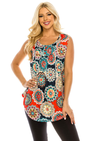 Haute Edition WOMEN'S TOP Haute Edition Women's Casual Flare Tunic Tank Tops With Buttons and Ruching