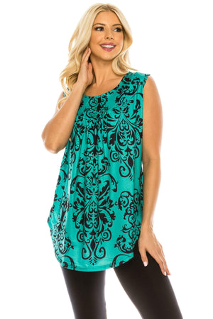 Haute Edition WOMEN'S TOP GREEN/NAVY PAISLEY / S Haute Edition Women's Casual Flare Tunic Tank Tops With Buttons and Ruching