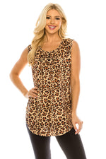 Haute Edition WOMEN'S TOP LEOPARD / S Haute Edition Women's Casual Flare Tunic Tank Tops With Buttons and Ruching