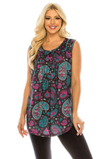 Haute Edition WOMEN'S TOP PURPLE PAISLEY / S Haute Edition Women's Casual Flare Tunic Tank Tops With Buttons and Ruching