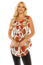 Haute Edition WOMEN'S TOP RED PAISLEY / S Haute Edition Women's Casual Flare Tunic Tank Tops With Buttons and Ruching