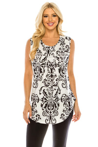 Haute Edition WOMEN'S TOP WHITE/BLACK PAISLEY / S Haute Edition Women's Casual Flare Tunic Tank Tops With Buttons and Ruching