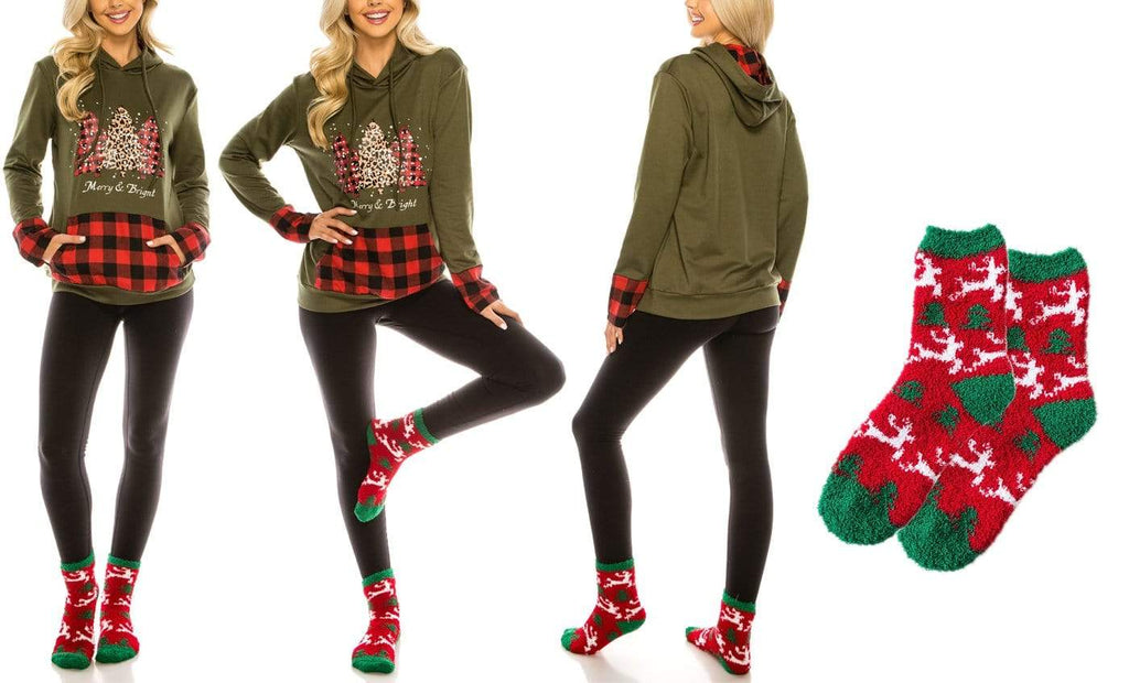 Haute Edition WOMEN'S TOP CHRISTMAS / S Haute Edition Women's Christmas Buffalo Plaid Hoodie and Fuzzy Sock Gift Set