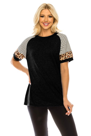 Haute Edition WOMEN'S TOP BLACK / S Haute Edition Women's Crew Neck Color Block Leopard Top. Plue Sizes Available