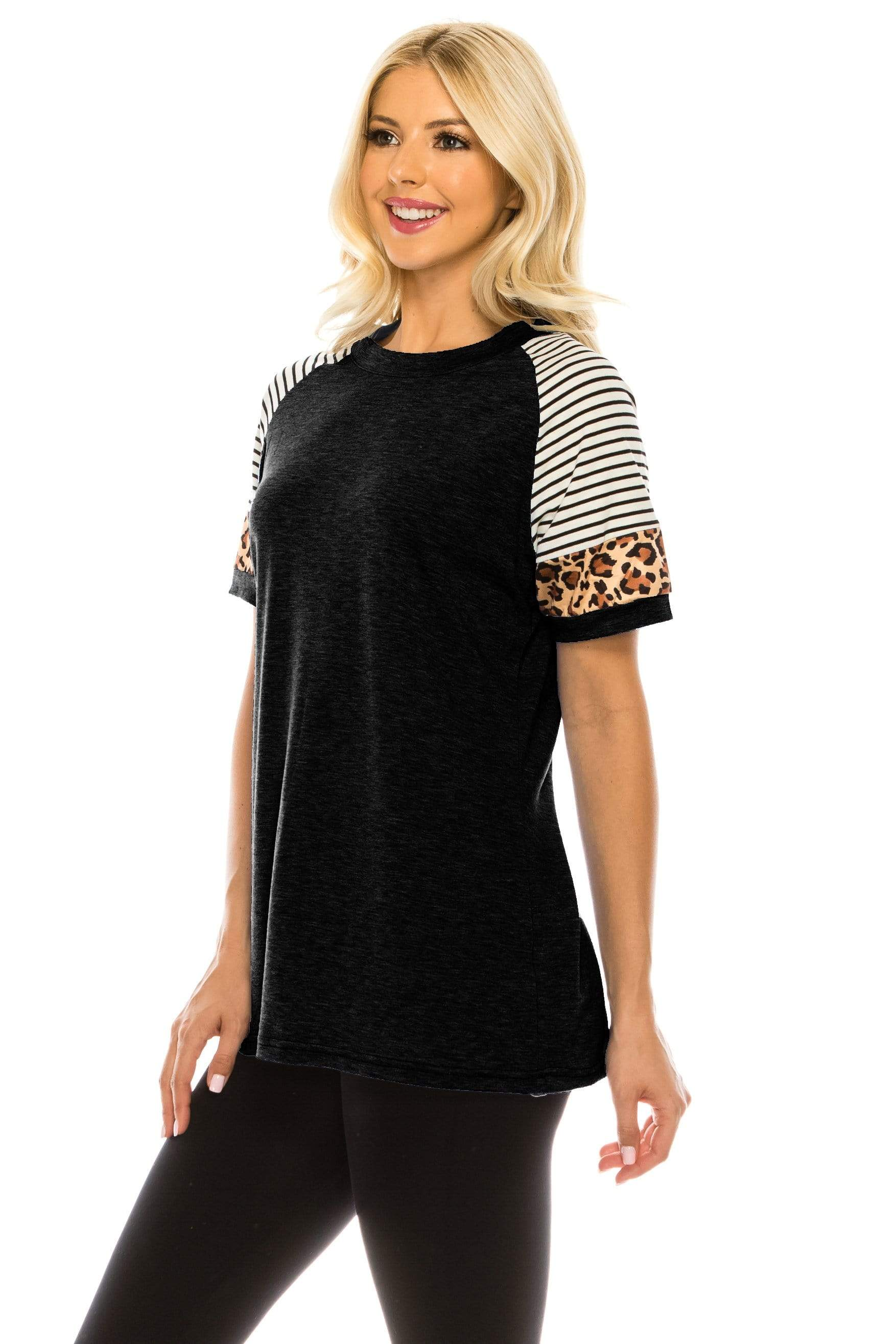Haute Edition WOMEN'S TOP Haute Edition Women's Crew Neck Color Block Leopard Top. Plue Sizes Available