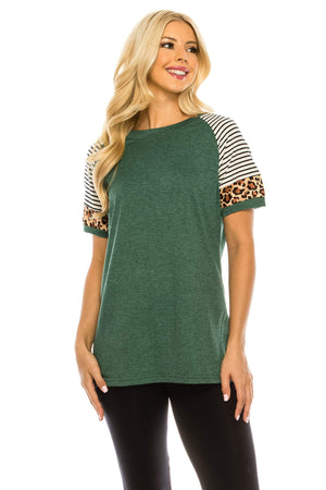 Haute Edition WOMEN'S TOP GREEN / S Haute Edition Women's Crew Neck Color Block Leopard Top. Plue Sizes Available
