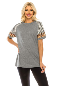 Haute Edition WOMEN'S TOP GREY / S Haute Edition Women's Crew Neck Color Block Leopard Top. Plue Sizes Available