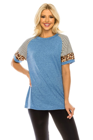 Haute Edition WOMEN'S TOP HEATHER BLUE / S Haute Edition Women's Crew Neck Color Block Leopard Top. Plue Sizes Available
