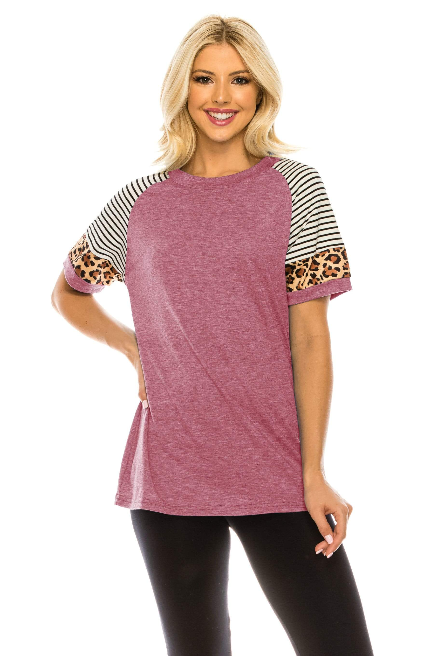 Haute Edition WOMEN'S TOP HEATHER RED / S Haute Edition Women's Crew Neck Color Block Leopard Top. Plue Sizes Available