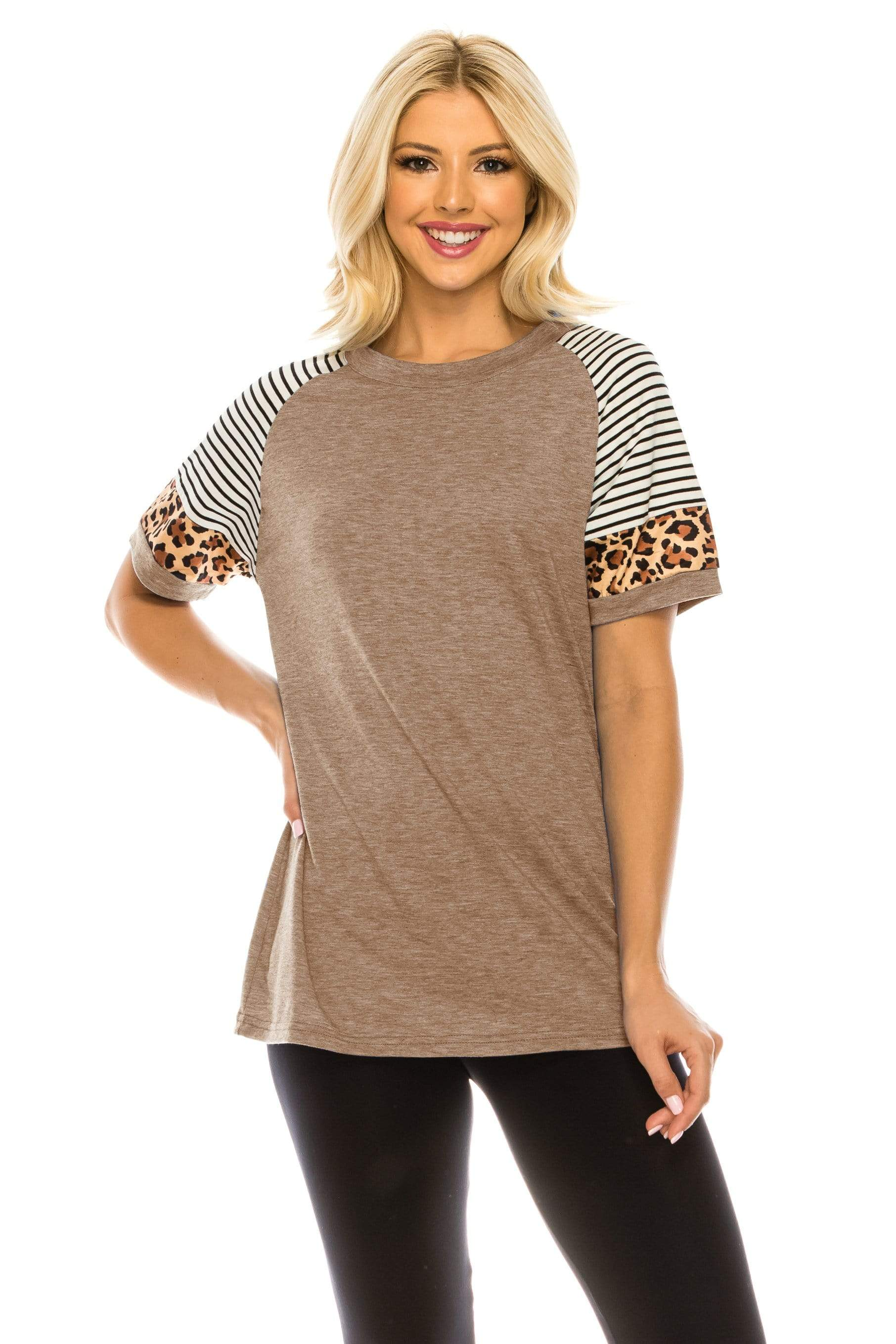 Haute Edition WOMEN'S TOP KHAKI / S Haute Edition Women's Crew Neck Color Block Leopard Top. Plue Sizes Available