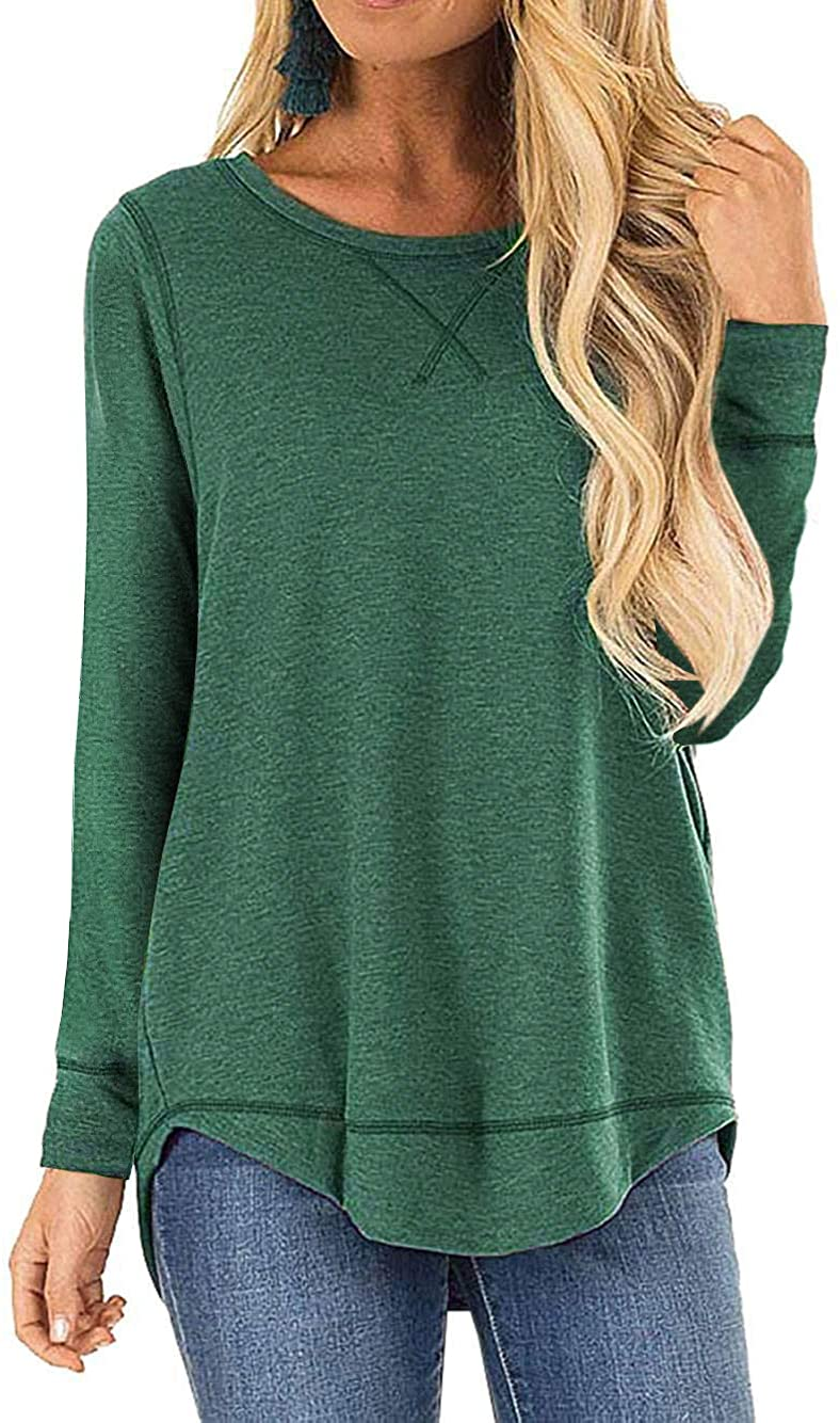 Haute Edition WOMEN'S TOP GREEN / S Haute Edition Women's Cross Stitch Loose Fit Long Sleeve Tee with Plus