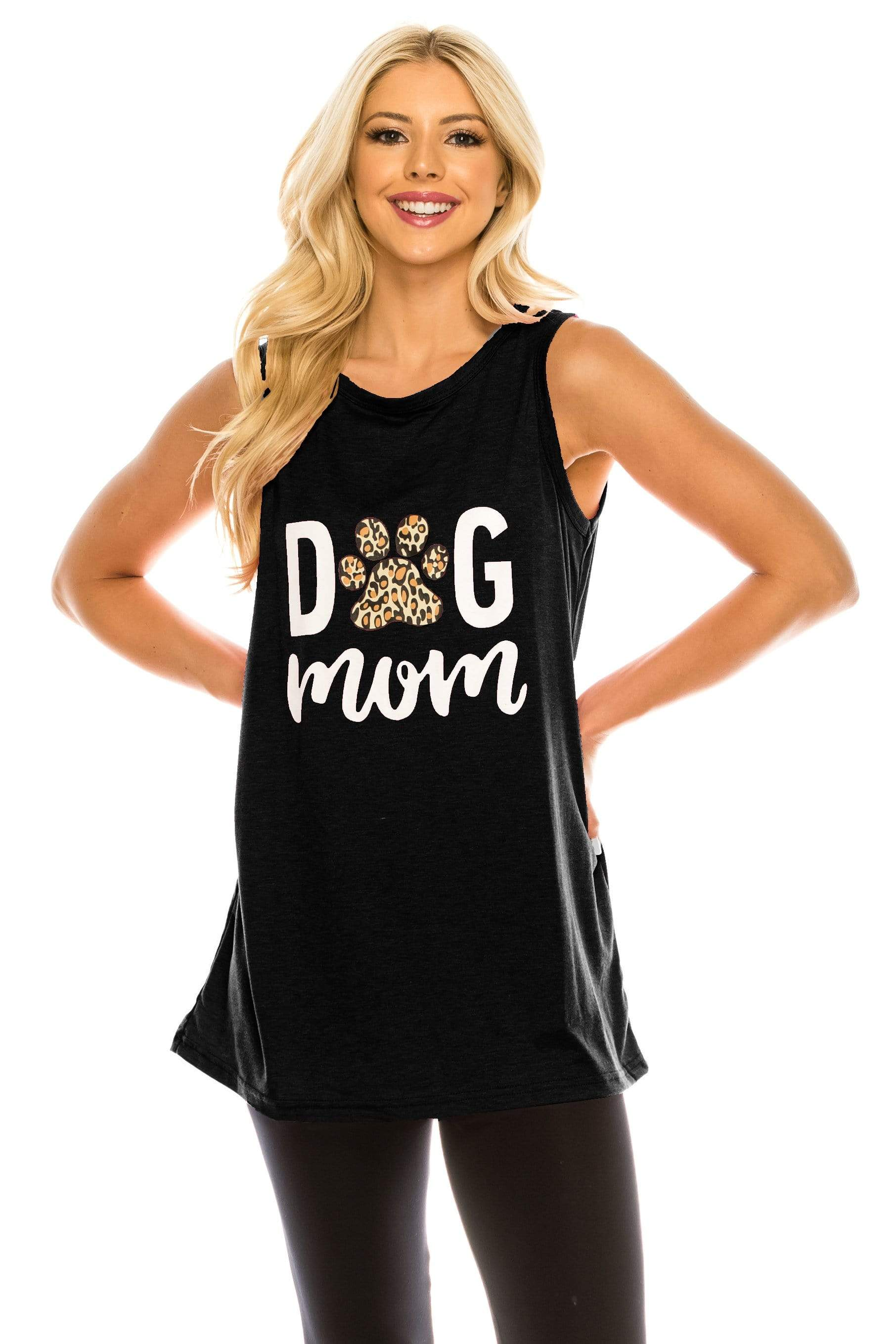 Haute Edition WOMEN'S TOP BLACK / S Haute Edition Women's Dog Mom Loose Fit Tank top. Plus size available