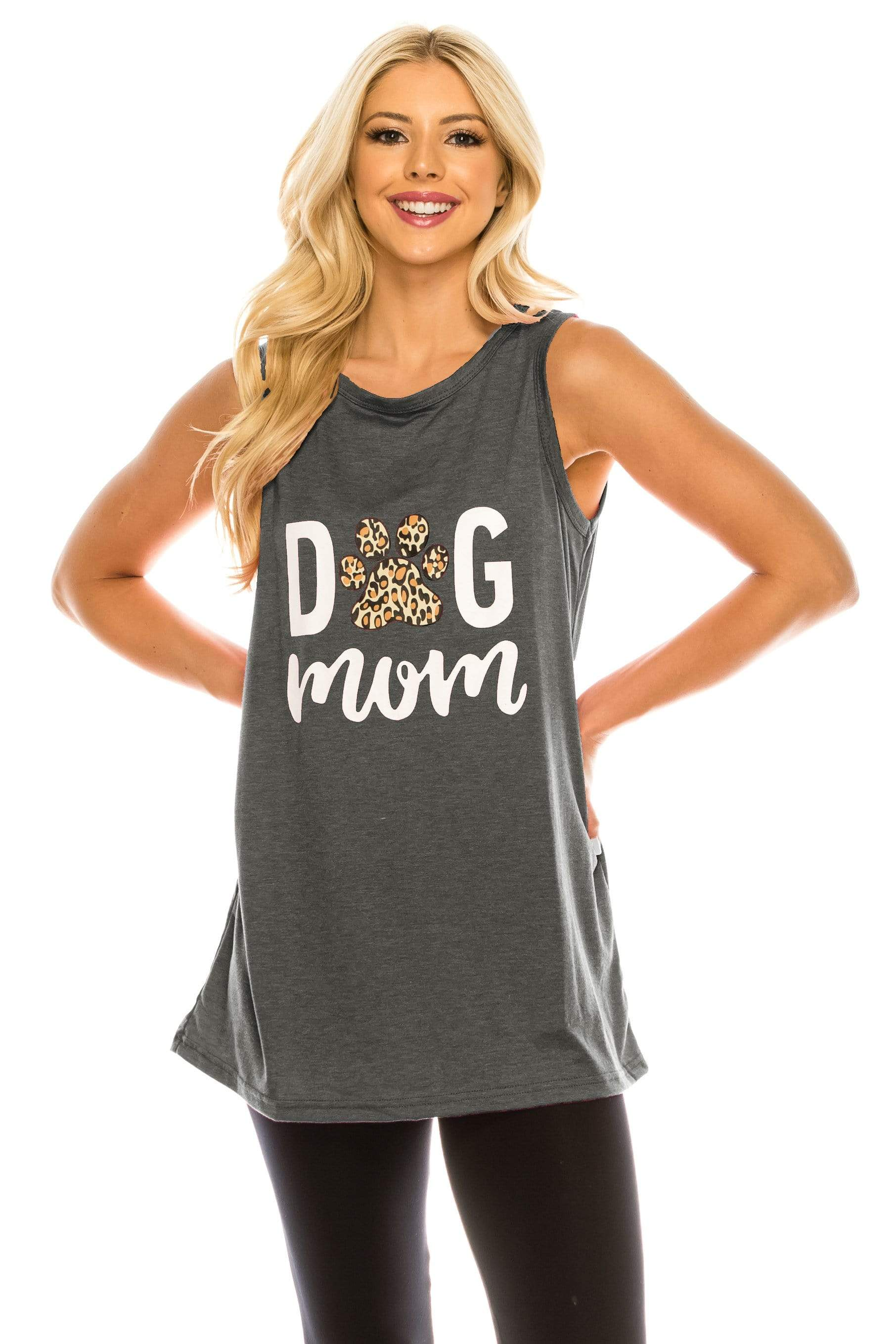 Haute Edition WOMEN'S TOP DARK CHARCOAL / S Haute Edition Women's Dog Mom Loose Fit Tank top. Plus size available