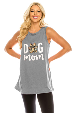 Haute Edition WOMEN'S TOP HEATHER GREY / S Haute Edition Women's Dog Mom Loose Fit Tank top. Plus size available