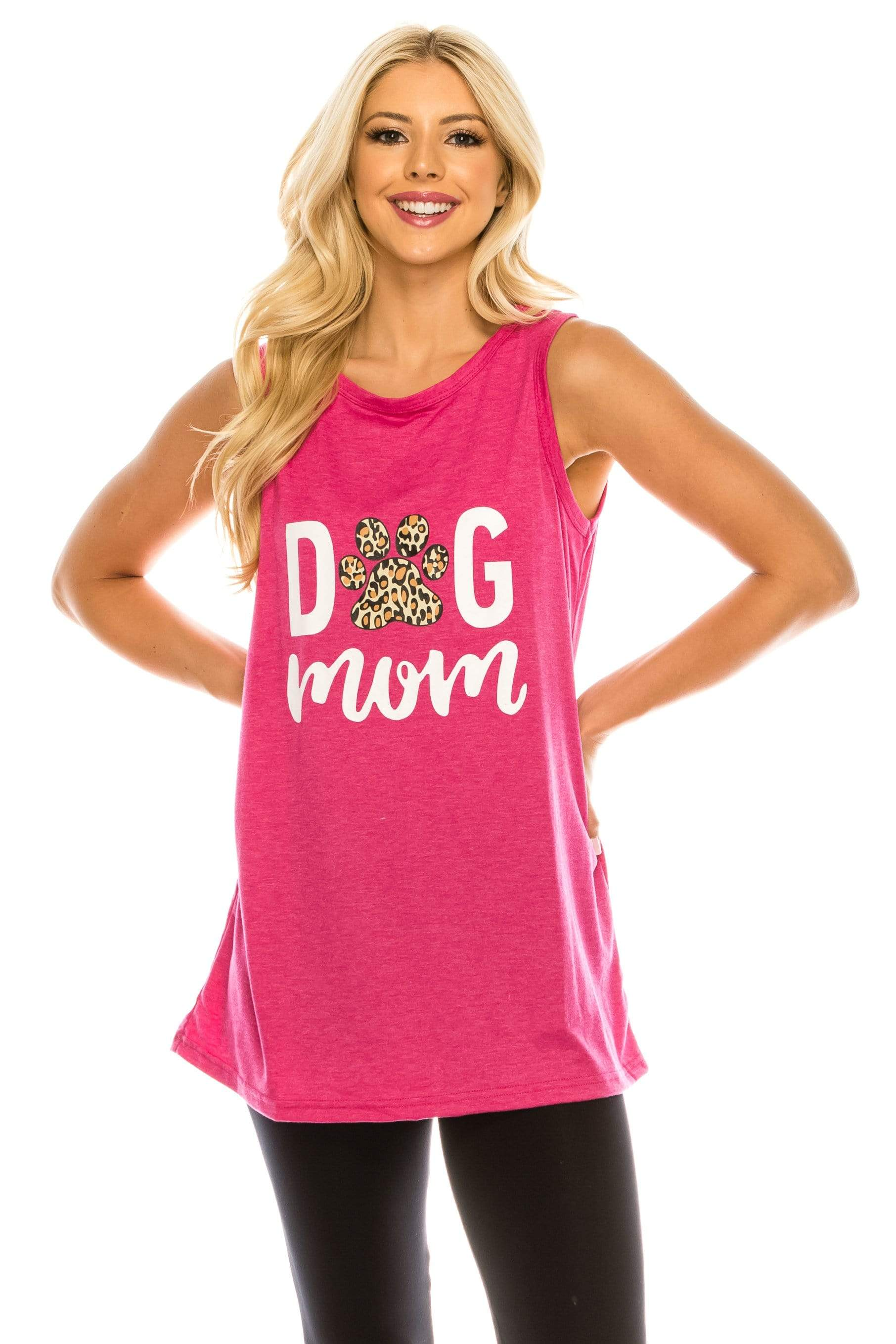 Haute Edition WOMEN'S TOP HOT PINK / S Haute Edition Women's Dog Mom Loose Fit Tank top. Plus size available