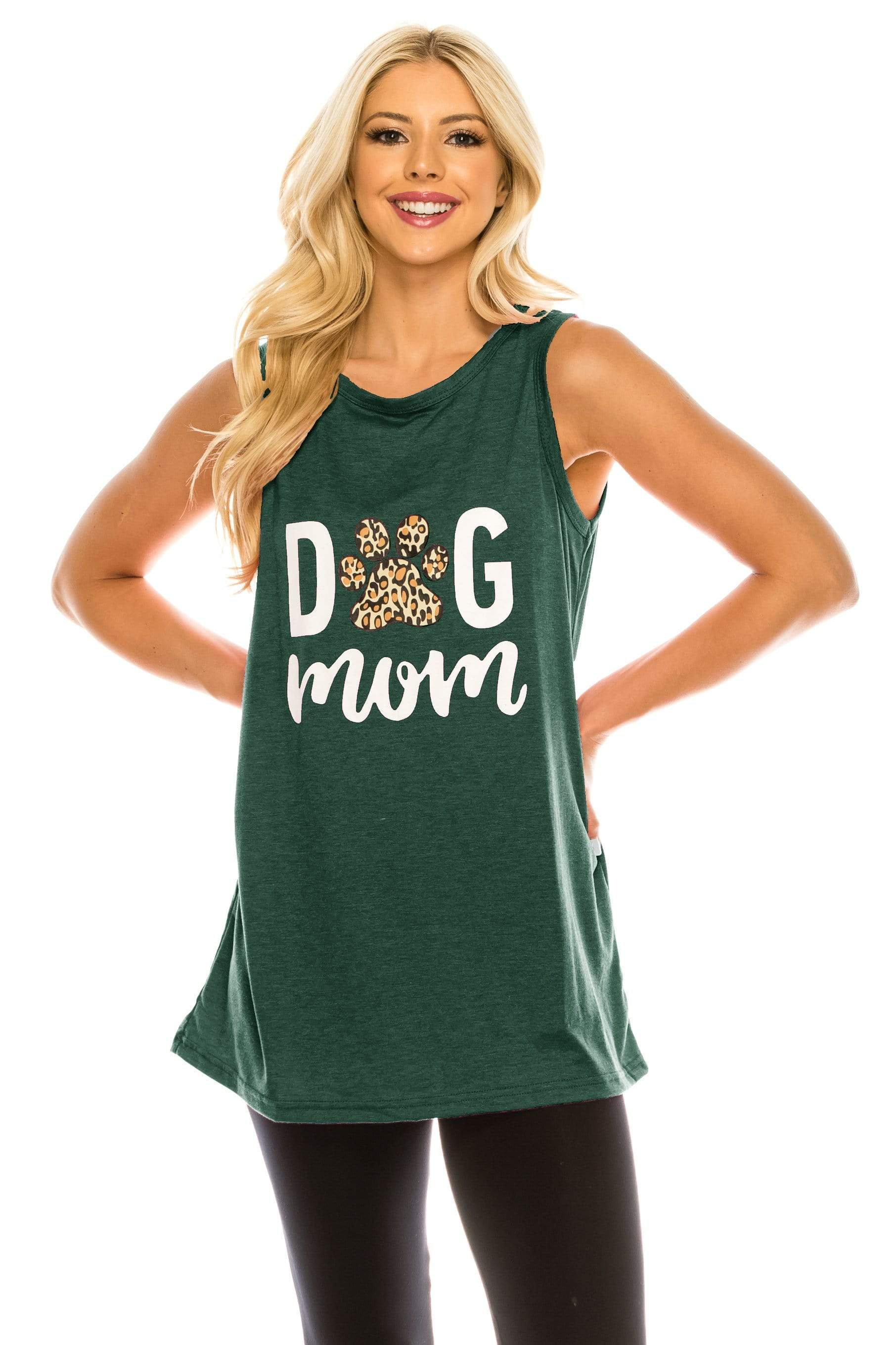 Haute Edition WOMEN'S TOP SEA GREEN / S Haute Edition Women's Dog Mom Loose Fit Tank top. Plus size available