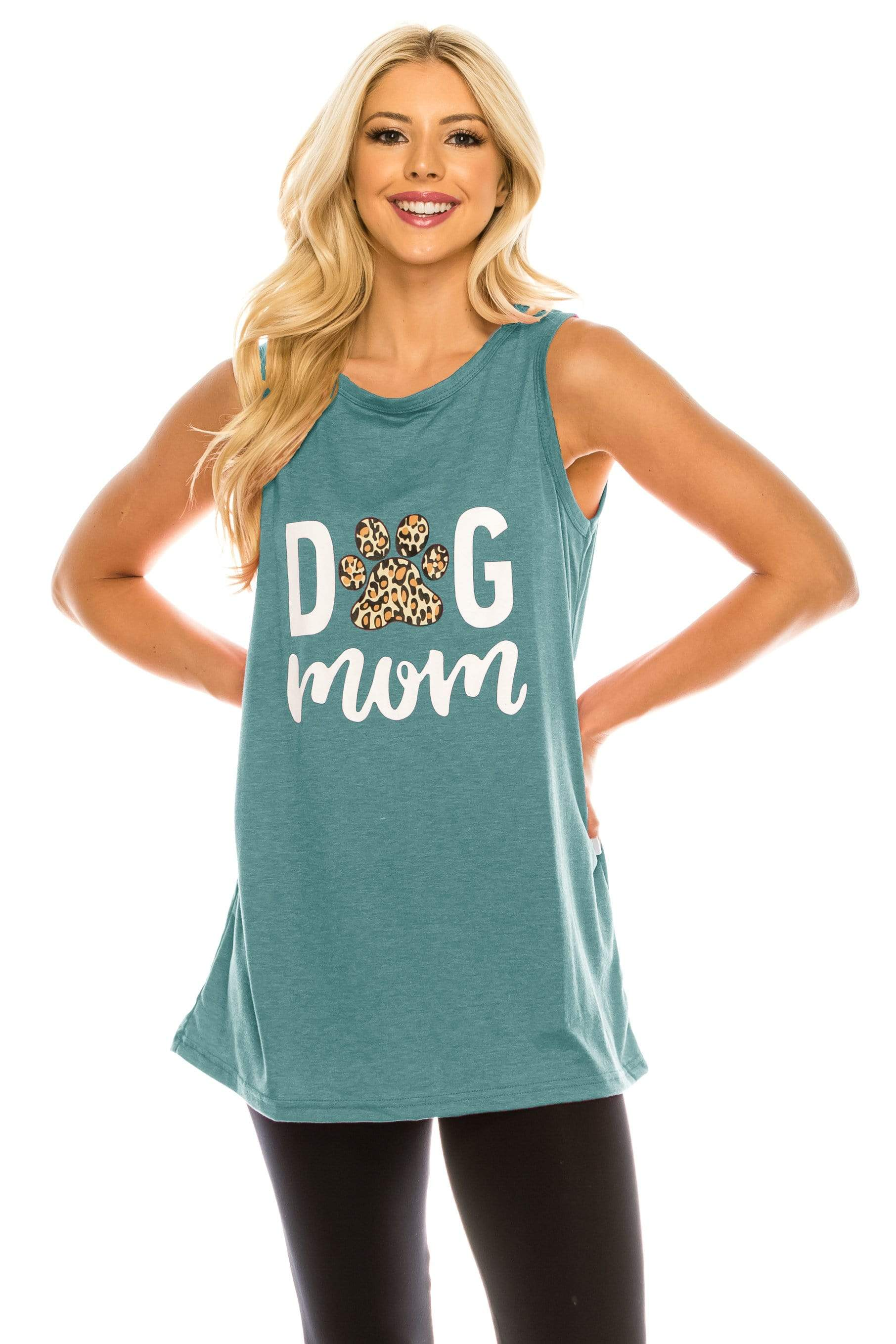 Haute Edition WOMEN'S TOP TEAL / S Haute Edition Women's Dog Mom Loose Fit Tank top. Plus size available