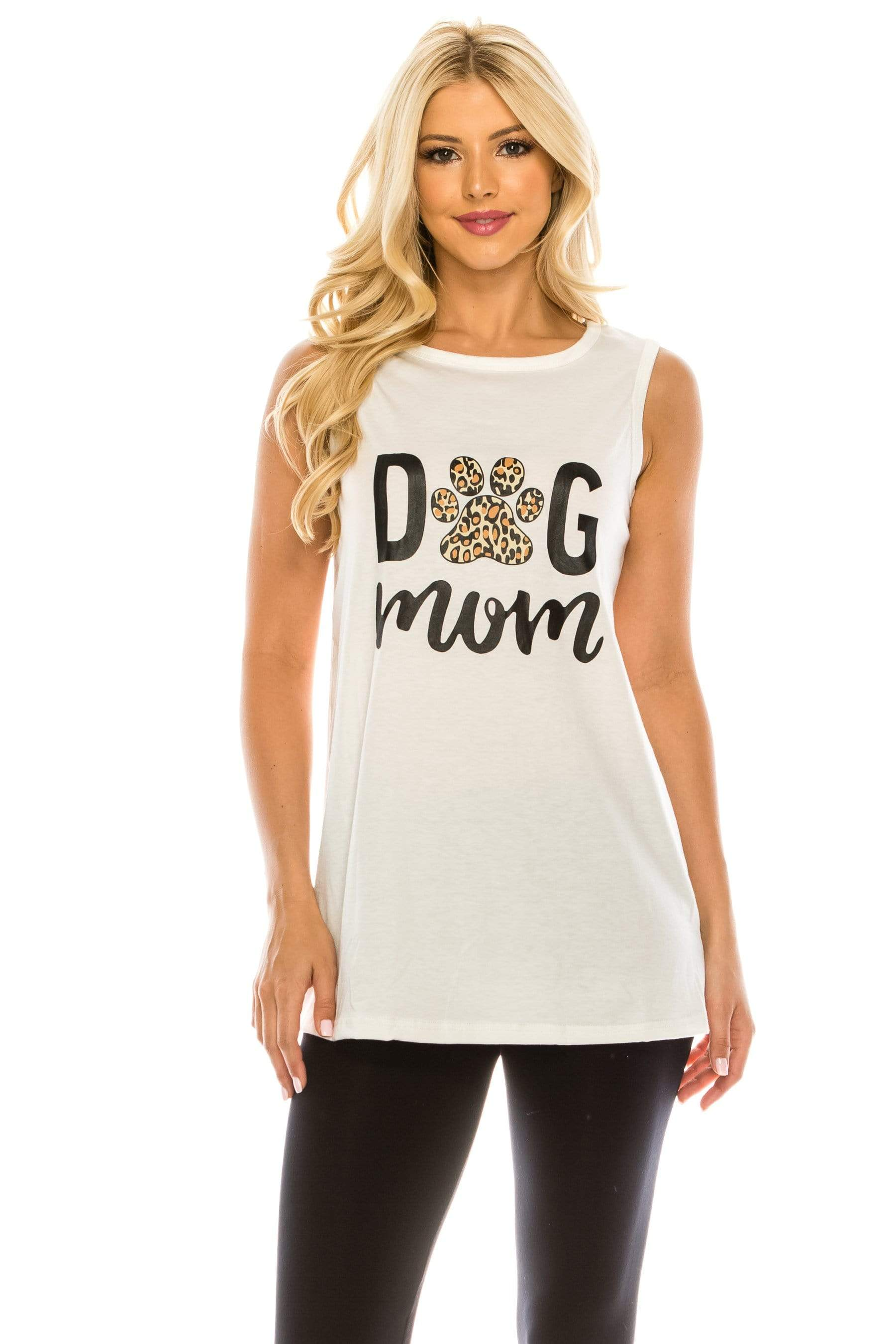 Haute Edition WOMEN'S TOP WHITE / S Haute Edition Women's Dog Mom Loose Fit Tank top. Plus size available