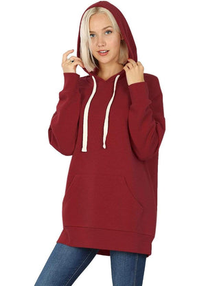 DAILYHAUTE WOMEN'S TOP BURGUNDY / S Haute Edition Women's Fashion Fleece Lined Pullover Hoodies