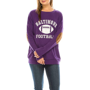 Haute Edition WOMEN'S TOP BALTIMORE / S Haute Edition Women's Game Day Football Sweatshirt