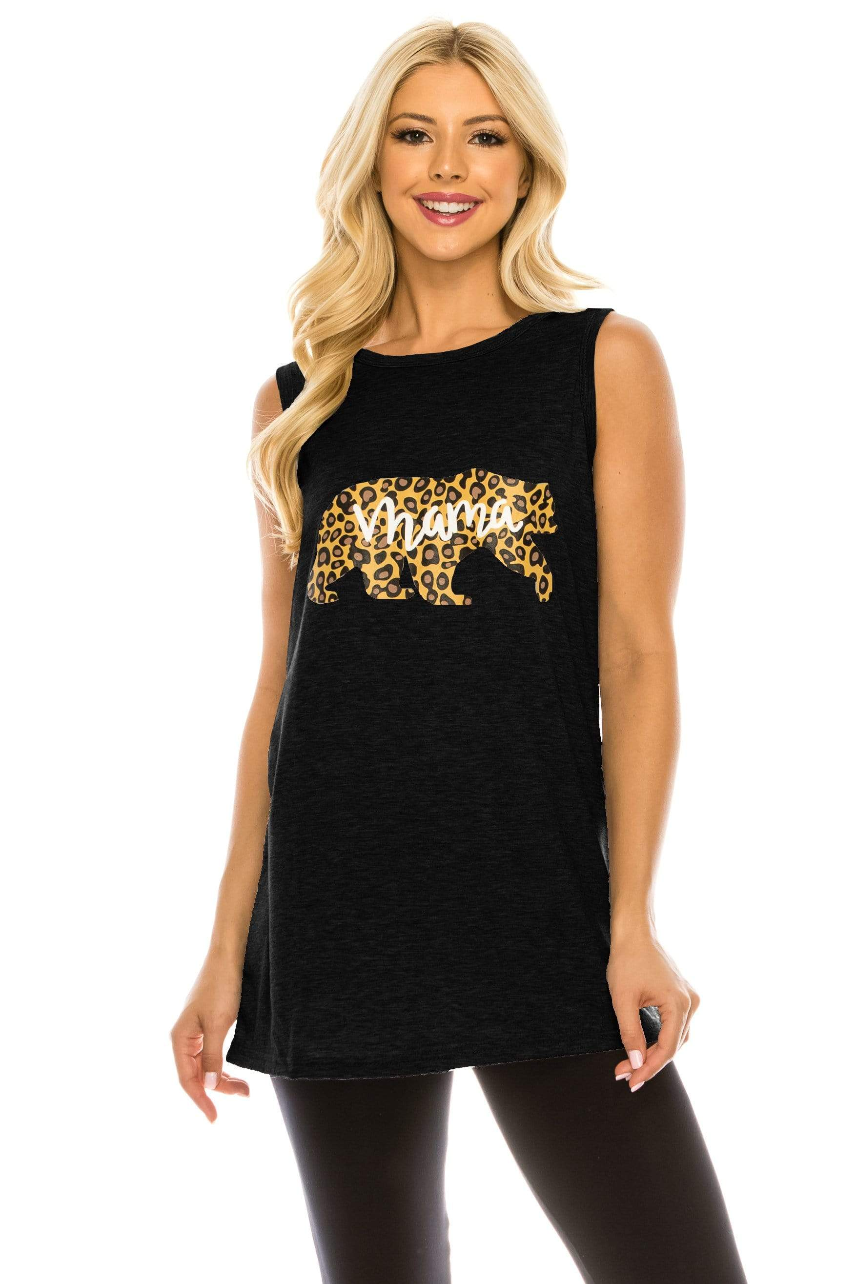 Haute Edition WOMEN'S TOP BLACK / S Haute Edition Women's Mama Bear Loose Fit Tank top. Plus size available
