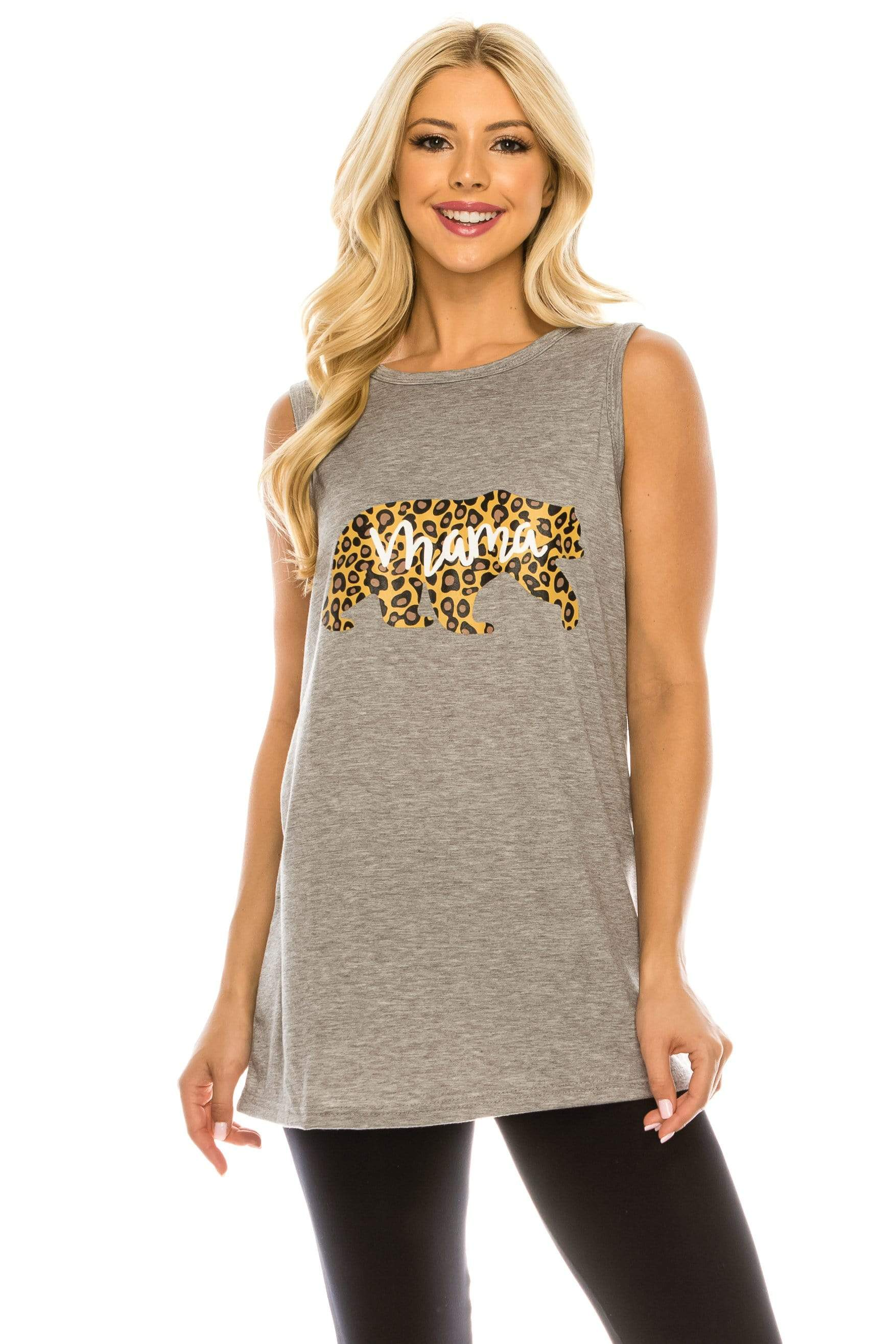 Haute Edition WOMEN'S TOP HEATHER GREY / S Haute Edition Women's Mama Bear Loose Fit Tank top. Plus size available